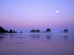 Full moon above seastacks, Olympic National Park, Washington, USA by Charles Gurche