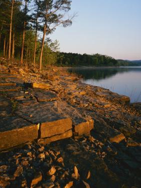 Sunrise along shore of Table Rock Lake, Mark Twain National Forest, Stone County, Missouri, USA by Charles Gurche