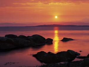 Sunrise over Rosario Striaght, San Juan Islands, Washington, USA by Charles Gurche