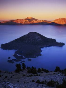 Wizard Island at dusk, Crater Lake National Park, Oregon, USA by Charles Gurche
