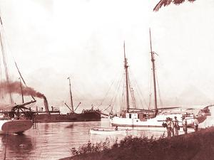 Papeetee Harbor, 1870s, Tahiti, Late 1800s by Charles Gustave Spitz
