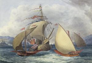 Papal Galleys and Ships of War, c.1850 by Charles Hamilton Smith