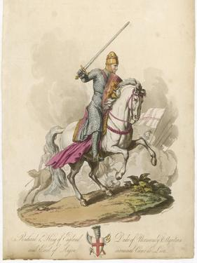 Richard I the Lionheart Depicted Riding into Battle Broadsword in Hand Armoured from Head to Foot by Charles Hamilton Smith
