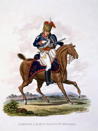 Uniform of a Private of the 15th or King's Light Dragoons (Hussars), from 'Costume of the British…
