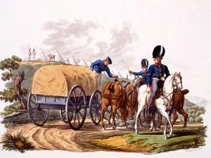 Uniform of Royal Artillery Drivers (With Wagon and Camp), from 'Costume of the British Empire,… by Charles Hamilton Smith