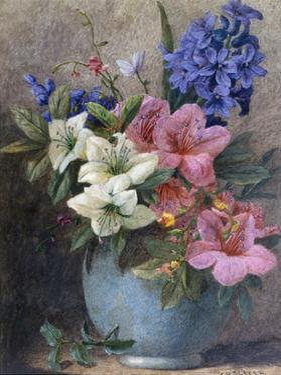 A Vase of Azaleas and Hyacinth by Charles Henry Slater