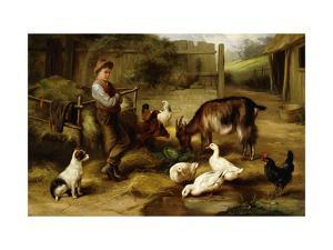 A Boy with Poultry and a Goat in a Farmyard by Charles Hunt