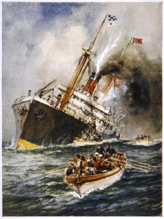 Abandon Ship! the Crew of a Torpedoed British Ship Take to the Boats as Their Vessel Keels Over by Charles J. De Lacy