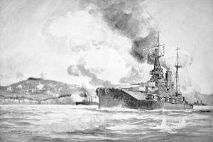 Hms Queen Elizabeth Bombarding the Dardanelles Defences in 1915 by Charles John De Lacy
