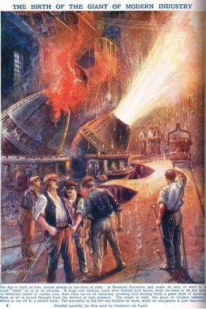 The Birth of the Giant of Modern Industry, Illustration from 'Newnes Pictor