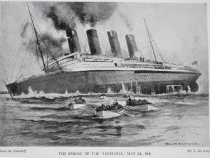 The Sinking of the Lusitania, May 7th 1915, Hutchinson's Story of the British Nation, c.1920 by Charles John De Lacy