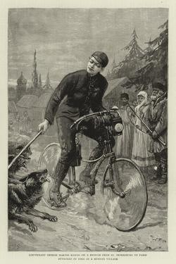 Lieutenant George Martos Riding on a Bicycle from St Petersburg to Paris Attacked by Dogs in a Russ by Charles Joseph Staniland