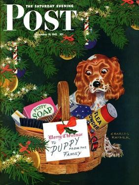 """""""Doggy Basket,"""" Saturday Evening Post Cover, December 19, 1942 by Charles Kaiser"""