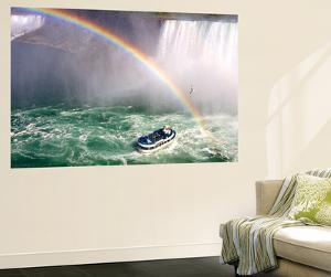The Maid of the Mist Tourist Boat Under a Double Rainbow at Niagara Falls by Charles Kogod