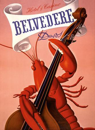 Davos, Switzerland - Grand Hotel & Casino Belvédère - Lobster Musician playing a Cello