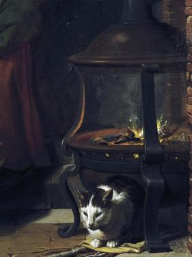 Cat under Burning Brazier, Detail from Infant Jesus Sleeping by Charles Le Brun