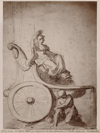 Triumphant France, C.1674 (Pierre Noire and Grey Wash on Paper) by Charles Le Brun