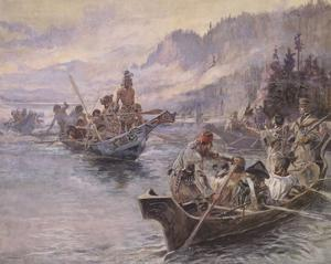Lewis and Clark On The Lower Columbia by Charles M. Russell