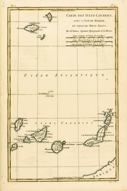 The Canary Islands, with Madeira and Porto Santo, from 'Atlas De Toutes Les Parties Connues Du… by Charles Marie Rigobert Bonne