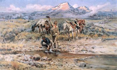 Discovery of Last Chance Gulch Montana by Charles Marion Russell