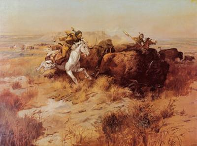 Indian Buffalo Hunt by Charles Marion Russell