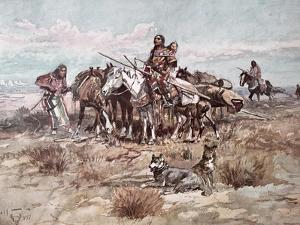 Native Americans Plains People Moving Camp, 1897 by Charles Marion Russell