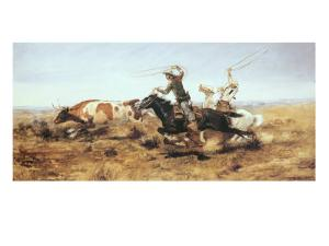 O.H. Cowboys Roping a Steer by Charles Marion Russell