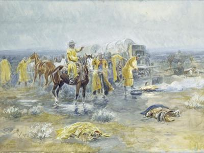 Rainy Morning, 1904 (Watercolour and Gouache on Paper Laid Down on Paperboard) by Charles Marion Russell