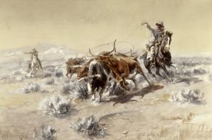 Roping the Longhorns by Charles Marion Russell
