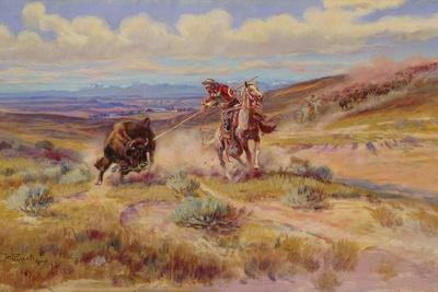 Spearing a Buffalo, 1925