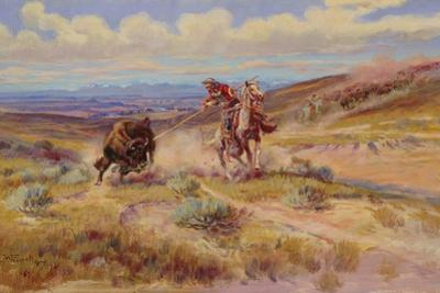 Spearing a Buffalo, 1925 by Charles Marion Russell