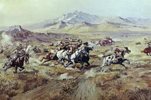 Stagecoach Attack by Charles Marion Russell