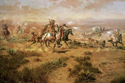 The Attack On The Wagon Train by Charles Marion Russell