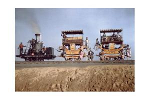 """A Locomotive and Two Coaches of the """"Atlantic"""" in Railroad Exhibit by Charles Martin"""