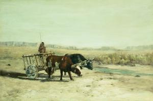 An Ox Cart in New Mexico by Charles Partridge Adams