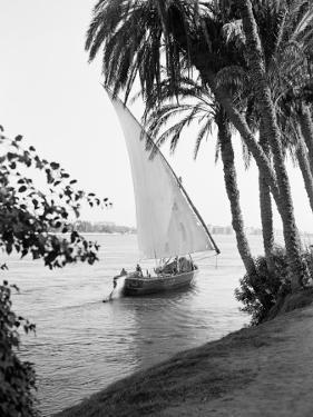 Tradition Egyptian Felucca Boat on River Nile, Cairo on Horizon by Charles Phelps Cushing