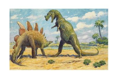 The Stegosaurus Has Armor to Protect it from the Ceratosaurus by Charles R. Knight