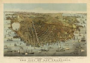 San Francisco Birds Eye View, c.1878 by Charles R. Parsons