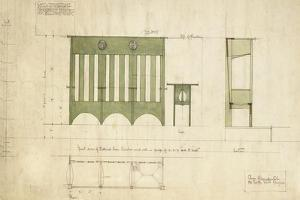 Design for Benches and a Table, Shown in Elevation and Section Plan, 1898 by Charles Rennie Mackintosh