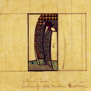 Design for Curtains for the Hall Windows, 1916-17 for W. J. Bassett-Lowke by Charles Rennie Mackintosh