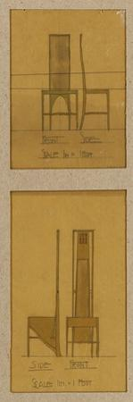 Designs for Chairs Shown in Front and Side Elevations, for the Room De Luxe, Willow Tea Rooms, 1903 by Charles Rennie Mackintosh