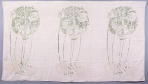 Panel of Three Stylised Rose Motifs in Green and Cream, for One Back of a Corner Settle by Charles Rennie Mackintosh