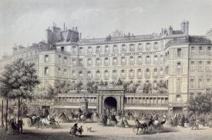 Boulevard Montmartre, Passage Jouffroy and Grand Hotel de la Terrasse Jouffroy, 1865 by Charles Riviere