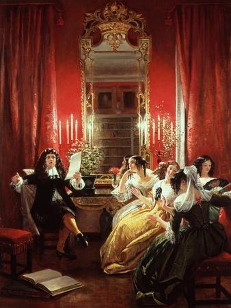 "Trissotin Reading His Sonnet, from ""Les Femmes Savantes"" by Moliere 1846"