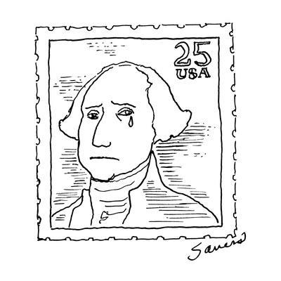 Weeping George Washington on 25 cent stamp. - New Yorker Cartoon