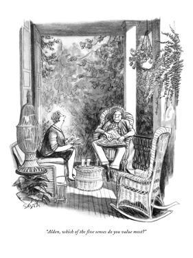 """""""Alden, which of the five senses do you value most?"""" - New Yorker Cartoon by Charles Saxon"""