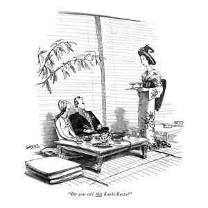 """Do you call this Kushi-Katsy?"" - New Yorker Cartoon by Charles Saxon"