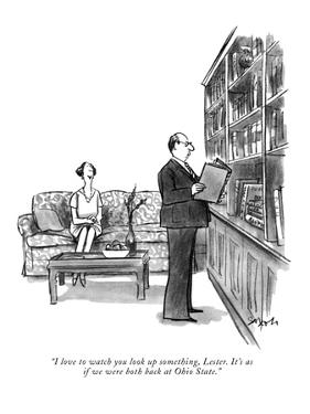 """""""I love to watch you look up something, Lester. It's as if we were both ba?"""" - New Yorker Cartoon by Charles Saxon"""