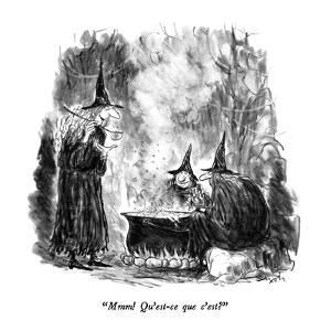 """""""Mmm!  Qu'est-ce que c'est?"""" - New Yorker Cartoon by Charles Saxon"""
