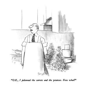 """""""O.K., I julienned the carrots and potatoes.  Now what?"""" - New Yorker Cartoon by Charles Saxon"""